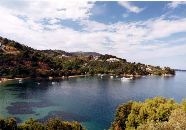 BANANA BEACH - Banana Beach is located in the south west of skiathos close to the last bus stop and about 30 minutes from Skiathos Town. It is actually a collection of three small naturist beaches where naturism is allowed and has been a favourite retreat for naturists