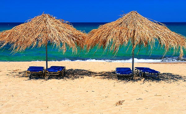 Umbrellas at Koukounaries beach SKIATHOS PHOTO GALLERY - KOUKOUNARIES