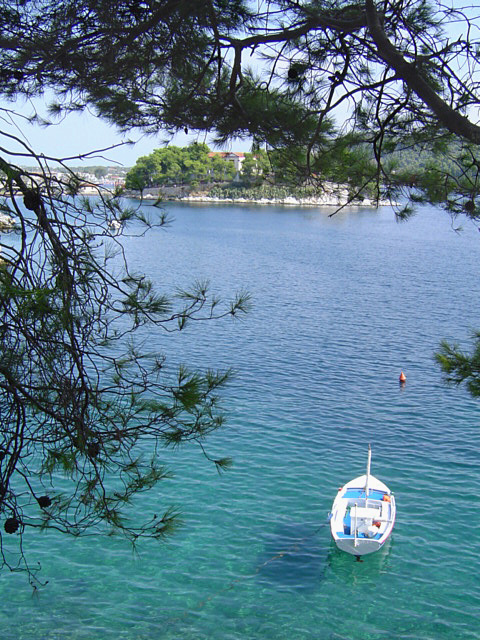 View of Bourzi and a fishing boat