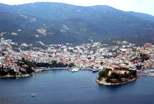 Skiathos Town - Panoramic view of Skiathos town from above